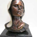 Tête Évangeline nostalgique - bronze 3x4x5