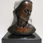 Tête Évangeline recueillie - bronze 3x4x5