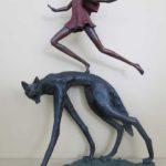 Le rêve du petit chaperon rouge - bronze 5x5x19